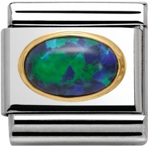 Nomination - Link 18K Gold 'Zielony Opal' 030502/26