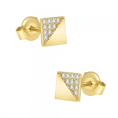 Złote kolczyki z kryształkami - Kwadraty pr.333