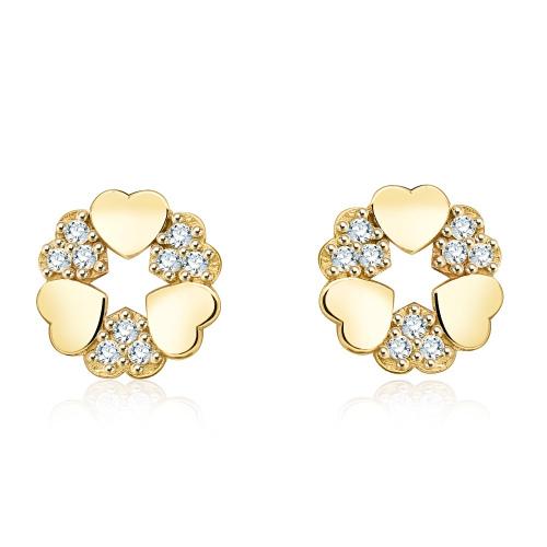 Złote kolczyki z kryształkami - Serca pr.333