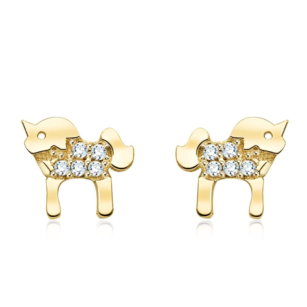 Złote kolczyki z kryształkami - Jednorożce pr.333