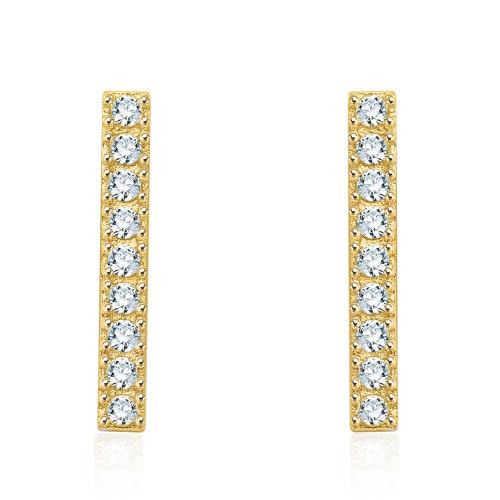 Złote kolczyki z kryształkami - Paski pr.333