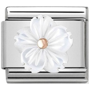 Nomination - Link 9K Rose Gold 'Flower in White Mother of Pearl' 430510/02