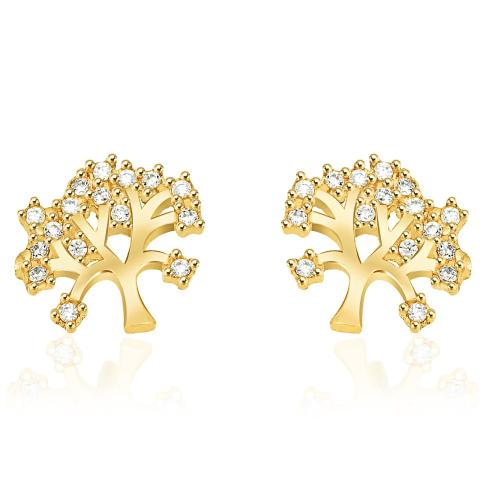 Złote kolczyki z kryształkami - Drzewko Szczęścia pr.333