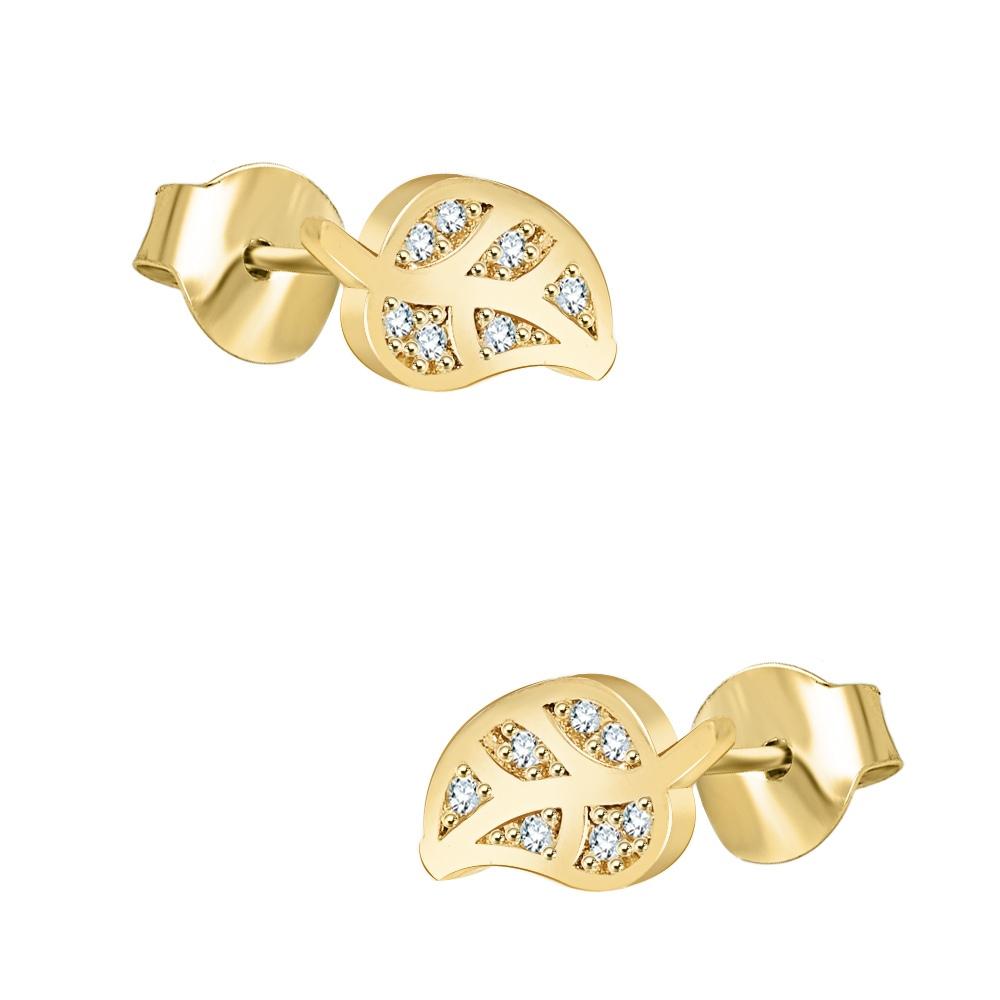 Złote kolczyki z kryształkami - Liście pr.333