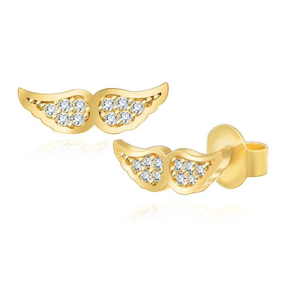 Złote kolczyki z kryształkami - Skrzydełka pr.333