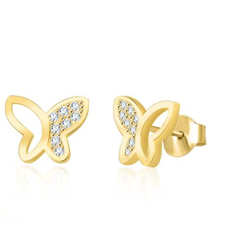 Złote kolczyki z kryształkami - Motylki pr.333