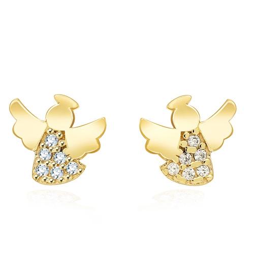Złote kolczyki z kryształkami - Aniołki pr.333