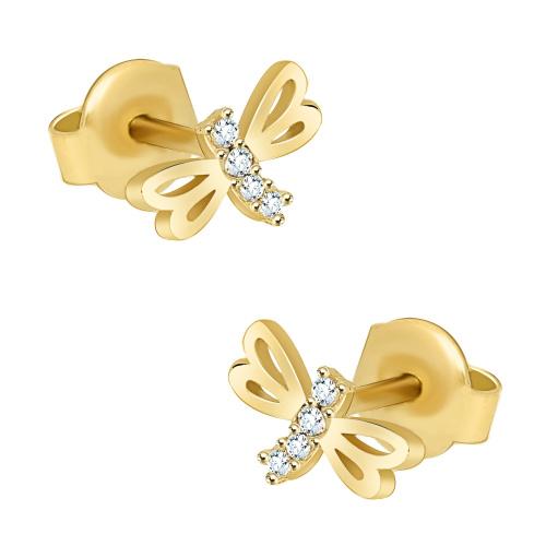 Złote kolczyki z kryształkami - Ważki pr.333
