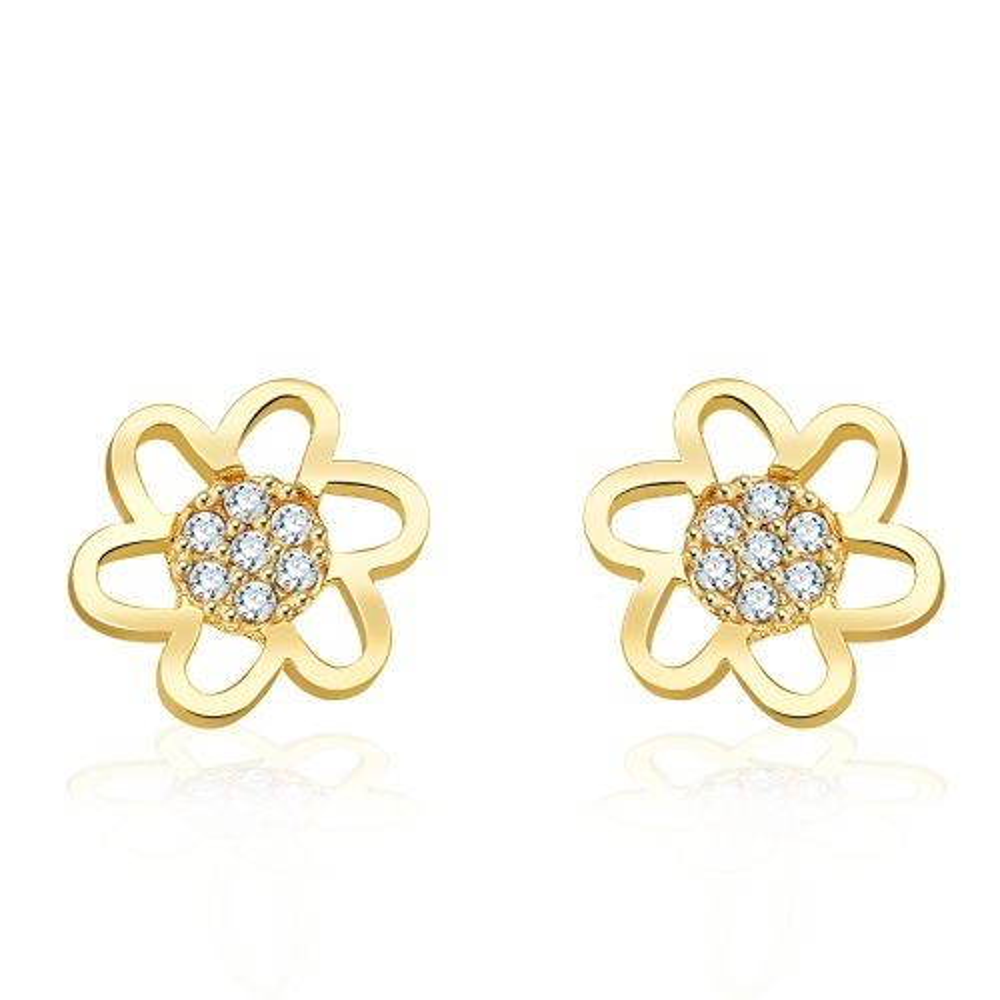 Złote kolczyki z kryształkami - Kwiaty pr.333