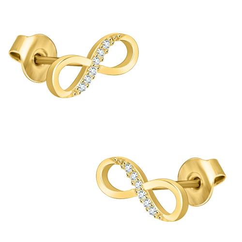 Złote kolczyki z kryształkami - Nieskończoność pr.333