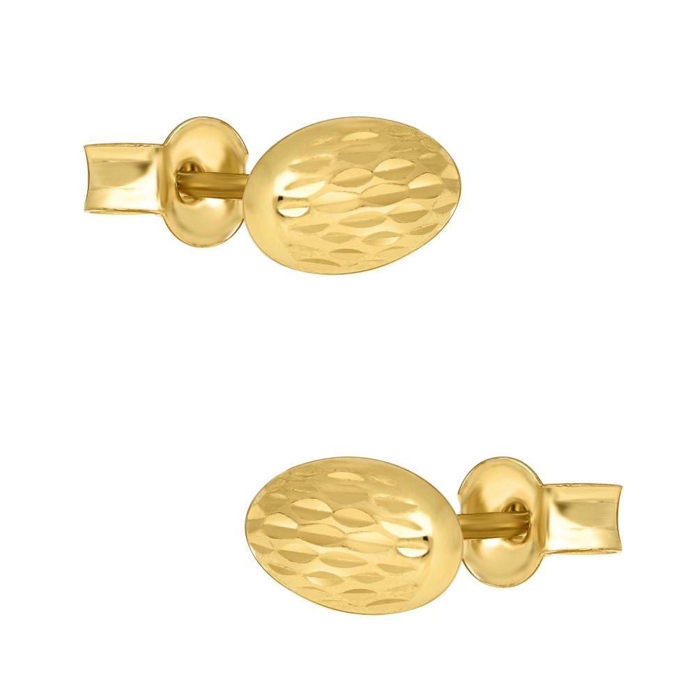 Złote kolczyki - Zdobione Owale pr.333