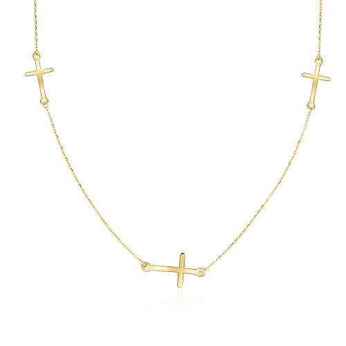 Złoty naszyjnik potrójna celebrytka - Krzyżyki pr.333