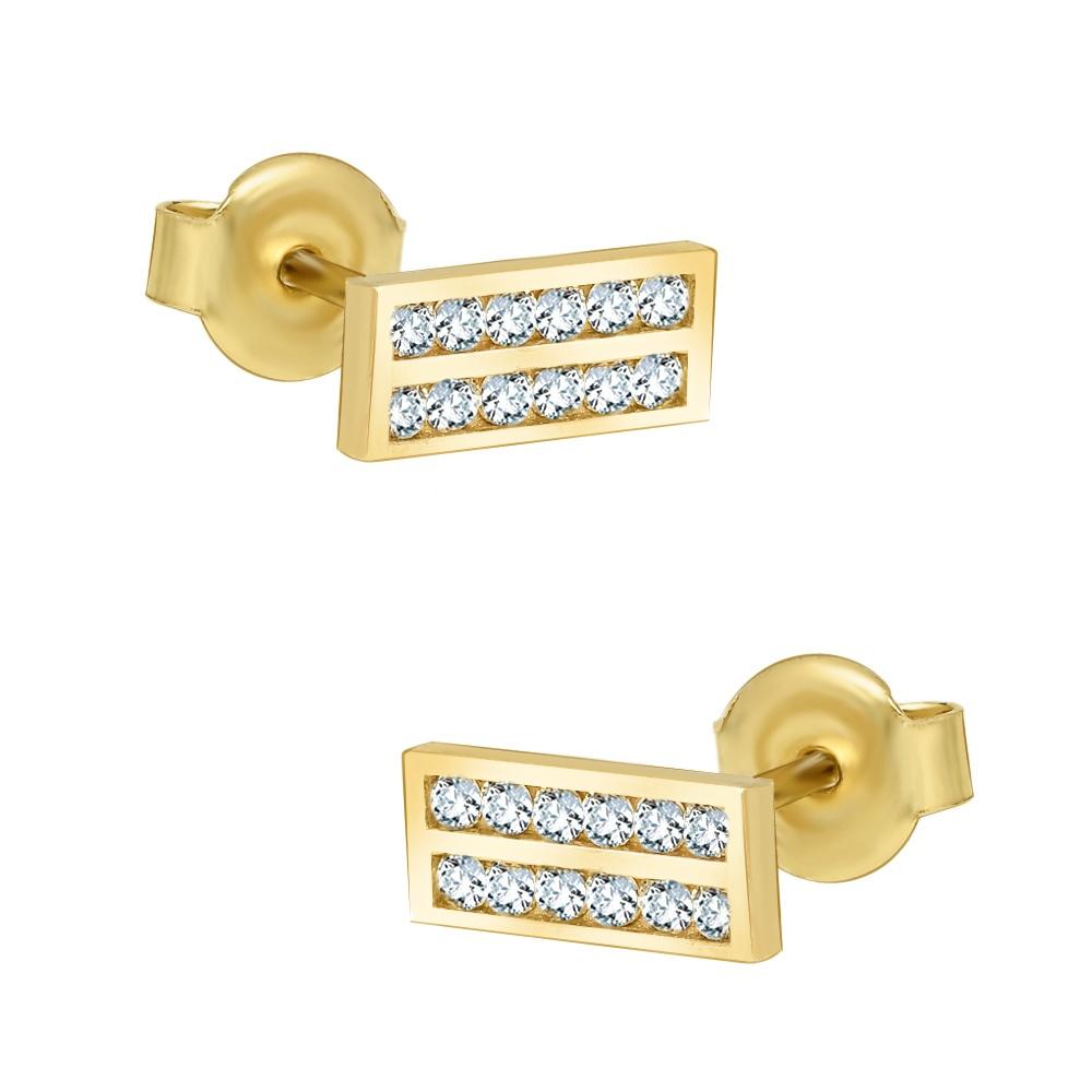Złote kolczyki z cyrkoniami - Prostokąty pr.333