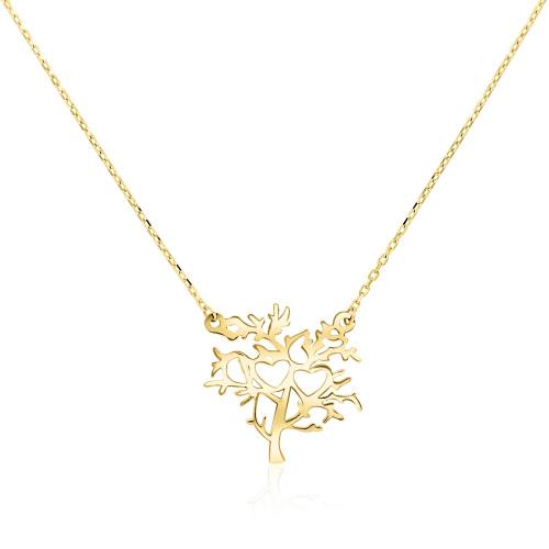 Złoty naszyjnik celebrytka - Drzewko z Serduszkami pr.333