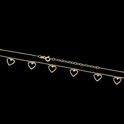 Złoty naszyjnik - Serca pr.333