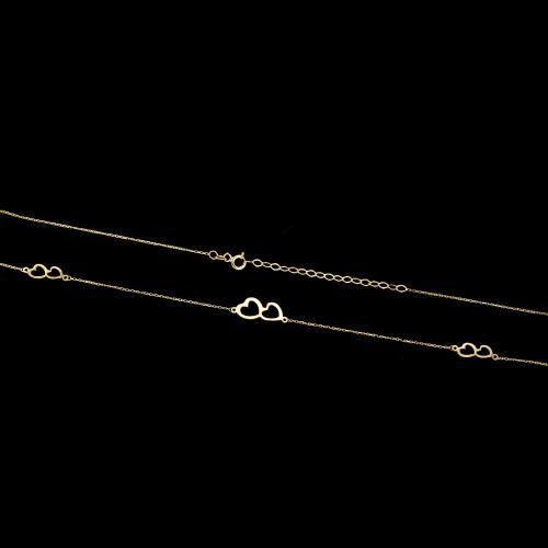 Złoty naszyjnik potrójna celebrytka - Serduszka pr.333