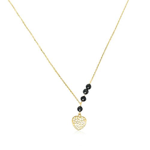 Złoty naszyjnik celebrytka z kryształkami - Serduszko pr.333