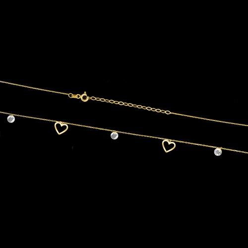 Złoty naszyjnik celebrytka z cyrkoniami - Serduszka pr.333