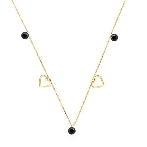 Złoty naszyjnik celebrytka z kryształkami - Serduszka pr.333
