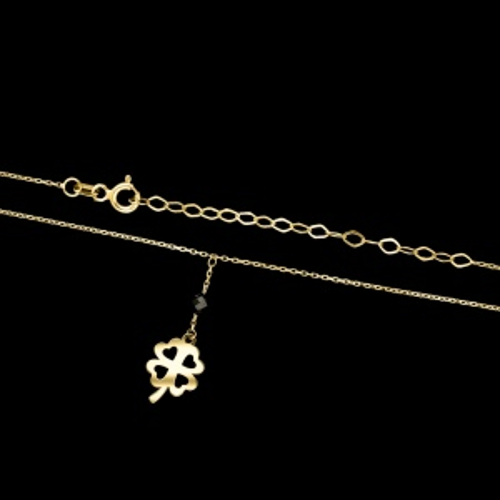 Złoty naszyjnik celebrytka z kryształkiem - Czterolistna Koniczynka pr.333