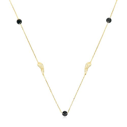 Złoty naszyjnik celebrytka z kryształkami - Skrzydła Anioła pr.333