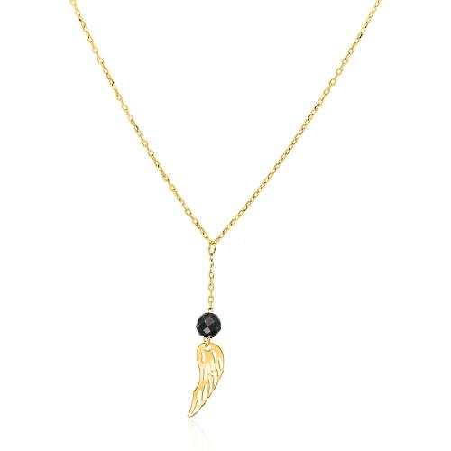 Złoty naszyjnik celebrytka z kryształkiem - Skrzydło Anioła pr.333