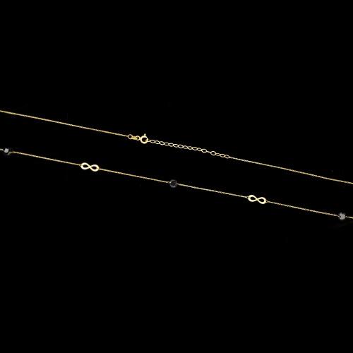 Złoty naszyjnik celebrytka z kryształkami - Nieskończoność pr.333