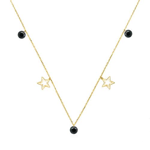 Złoty naszyjnik celebrytka z kryształkami - Gwiazdki pr.333