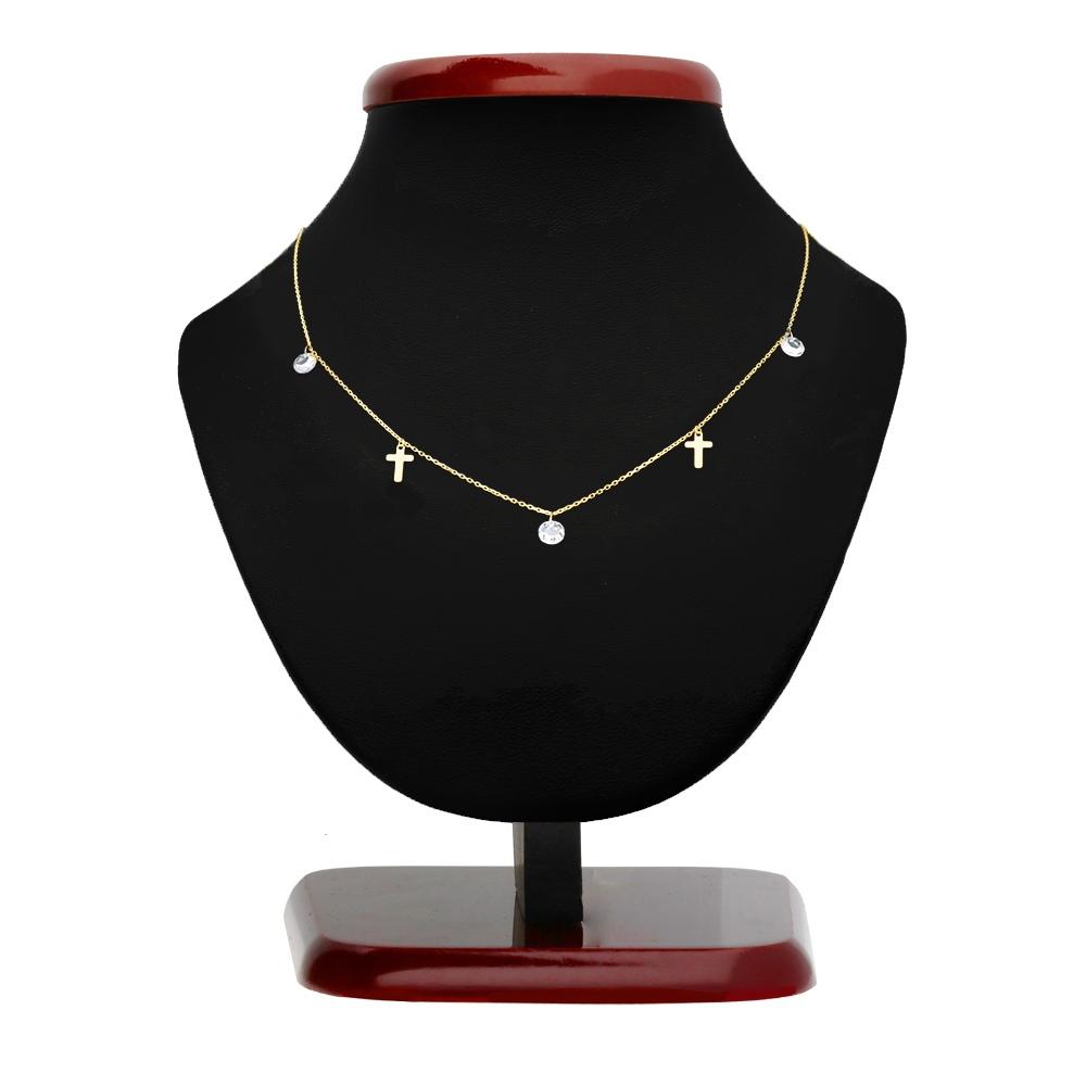 Złoty naszyjnik celebrytka z cyrkoniami - Krzyżyki pr.333