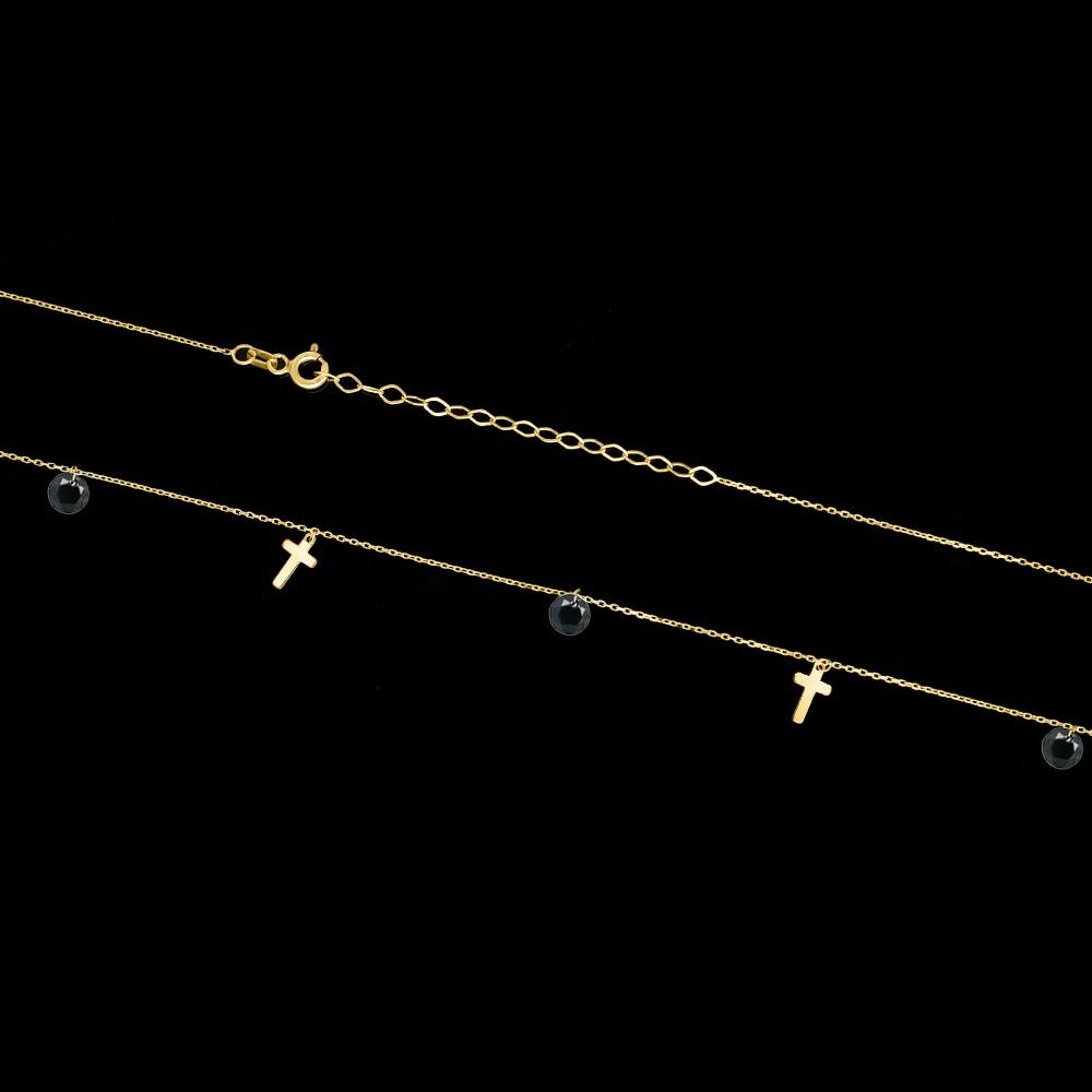 Złoty naszyjnik celebrytka z kryształkami - Krzyżyki pr.333