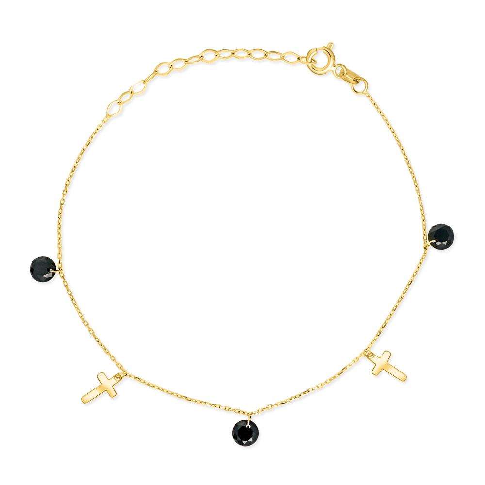 Złota bransoletka z kryształkami - Krzyżyki pr.333