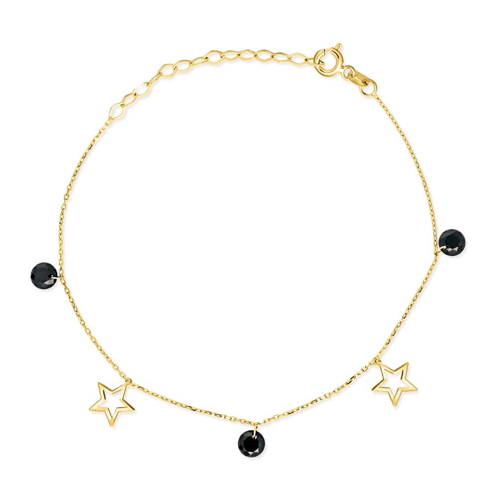 Złota bransoletka z kryształkami - Gwiazdki pr.333