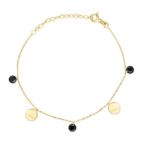 Złota bransoletka z kryształkami - Monety pr.333