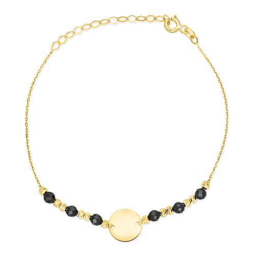 Złota bransoletka celebrytka z kryształkami - Medalik pr.333