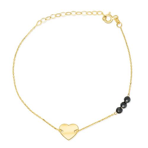 Złota bransoletka celebrytka z kryształkami - Serce pr.333
