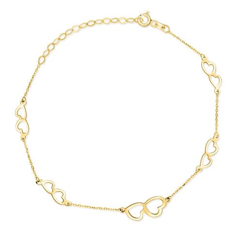 Złota bransoletka celebrytka - Serca pr.333