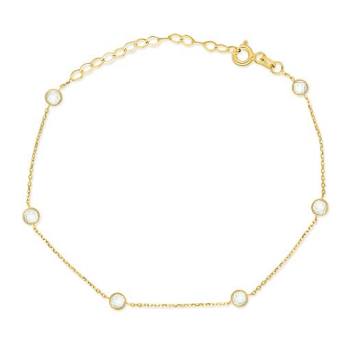 Złota bransoletka celebrytka z cyrkoniami pr.333