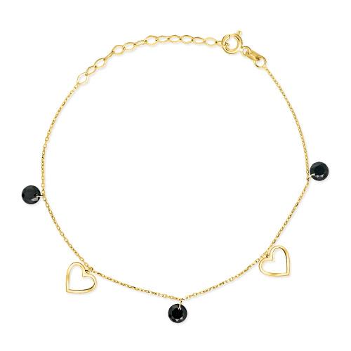 Złota bransoletka z kryształkami - Serca pr.333