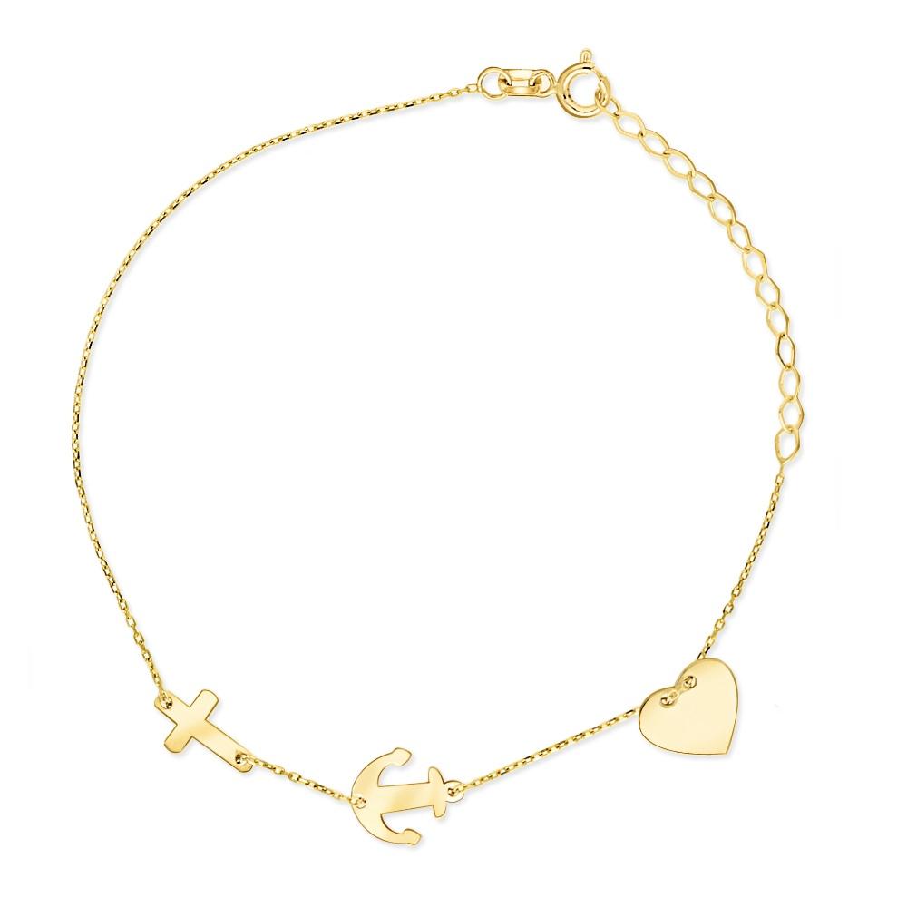 Złota bransoletka potrójna celebrytka - Serce, Kotwica, Krzyż pr.333