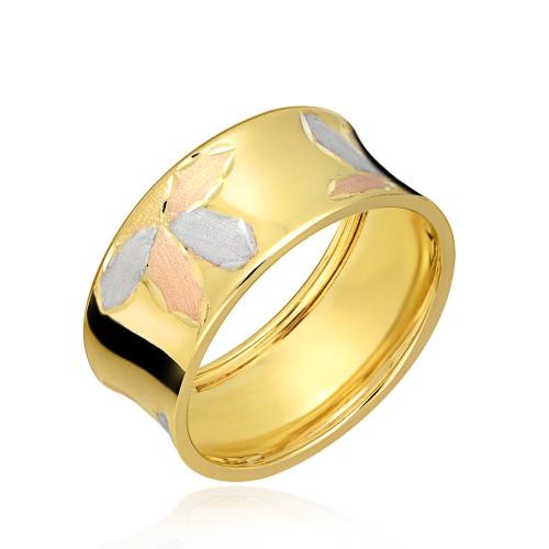 Złoty Szeroki Zdobiony Pierścionek pr.333