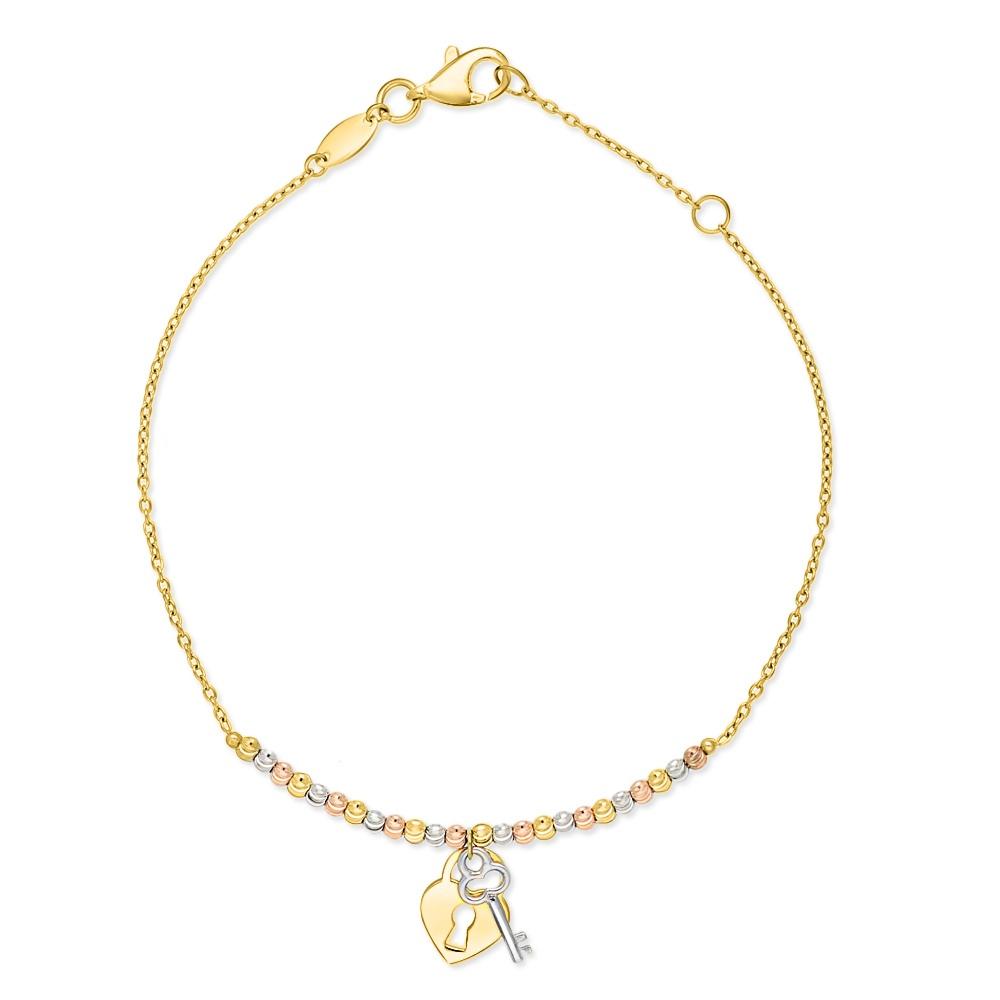 Złota bransoletka - Serce z Kluczem pr. 333
