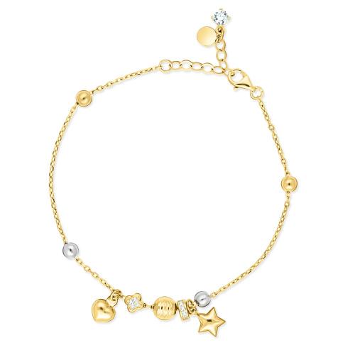 Złota bransoletka z charmsami pr.585