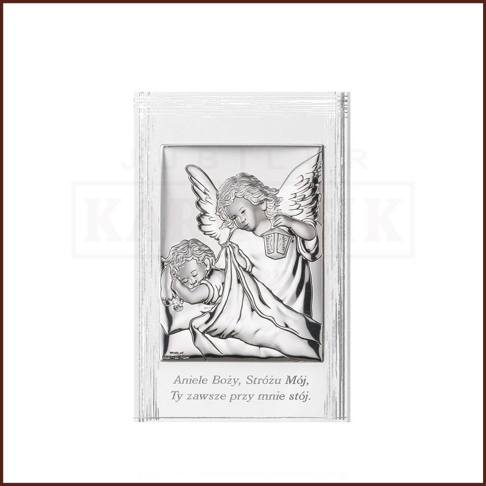 Srebrny obrazek na chrzest św. - Aniołek z Latarenką