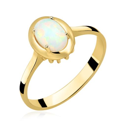 Złoty pierścionek z opalem pr.585