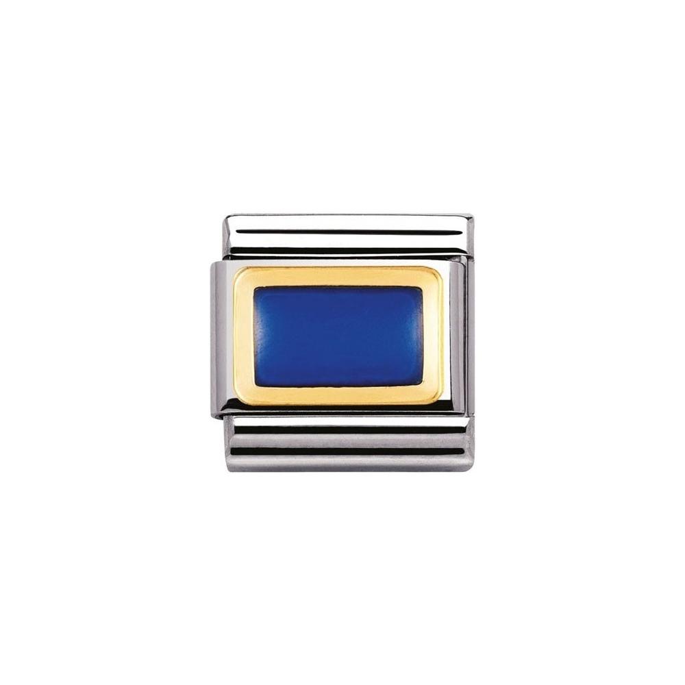Nomination - Link 18K Gold 'Niebieski prostokąt' 030206/13