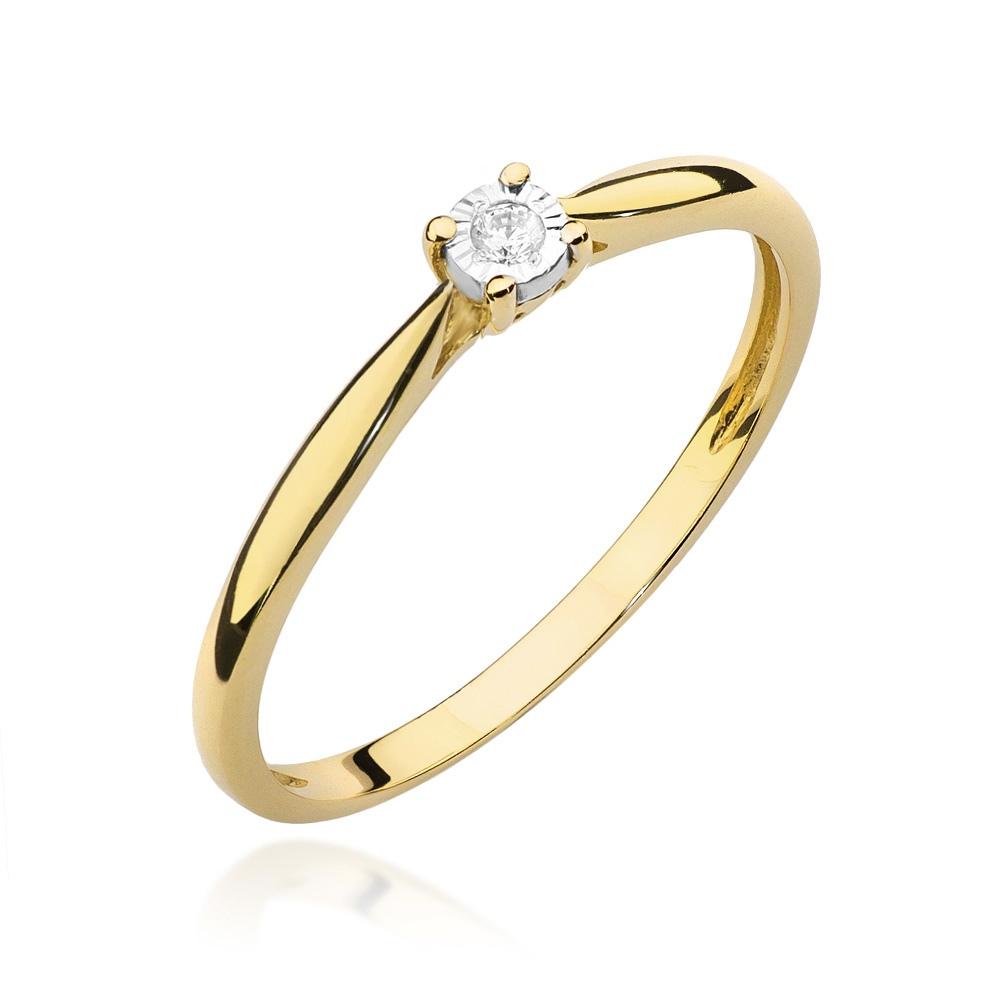 Pierścionek zaręczynowy z brylantem 0,01ct pr.585