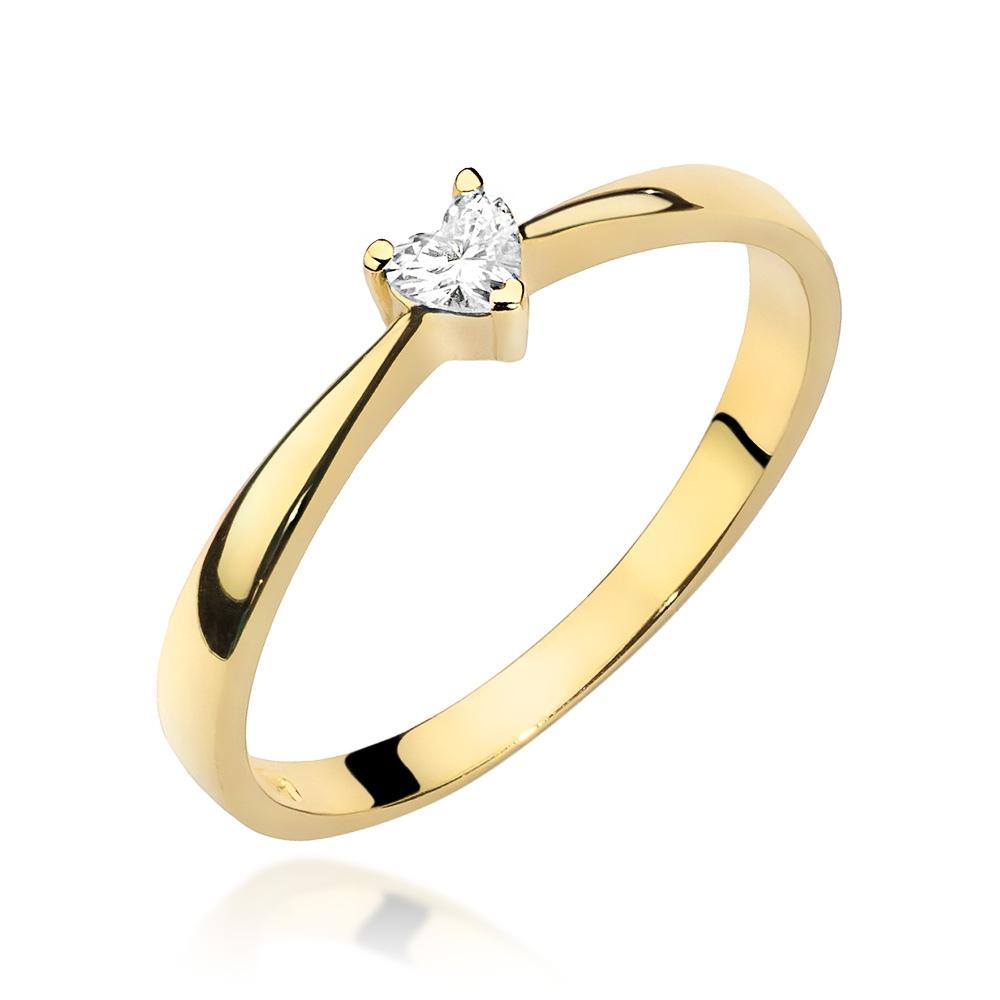 Pierścionek zaręczynowy z brylantem 0,10ct - Serce pr.585