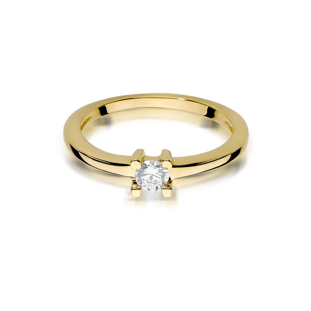 Pierścionek zaręczynowy z brylantem 0,09ct pr.585
