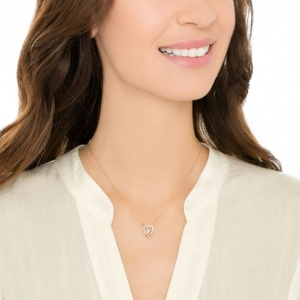 Naszyjnik Swarovski - Sparkling Dance Heart Necklace, White, Rose-Gold Tone Plated 5284188