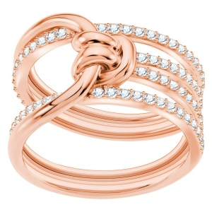 Pierścionek SWAROVSKI - Lifelong Wide, White, Rose gold
